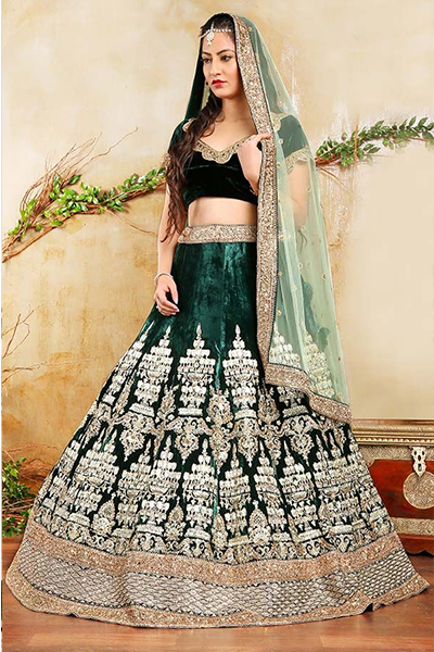 A Brocade Lehenga With Floral Decorated Dupatta