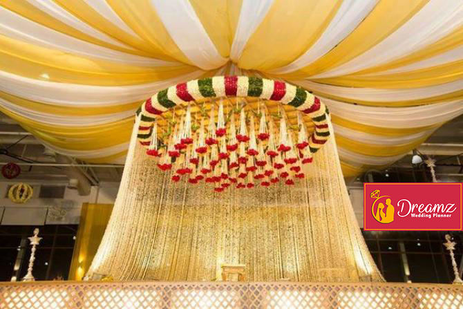 Floral chandelier decor for Indian wedding