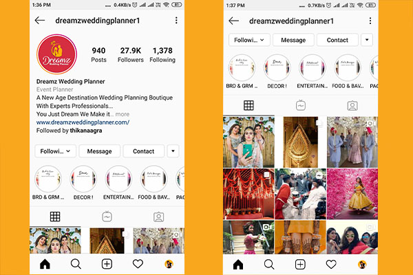 Dreamz Wedding Planner Instagram Account